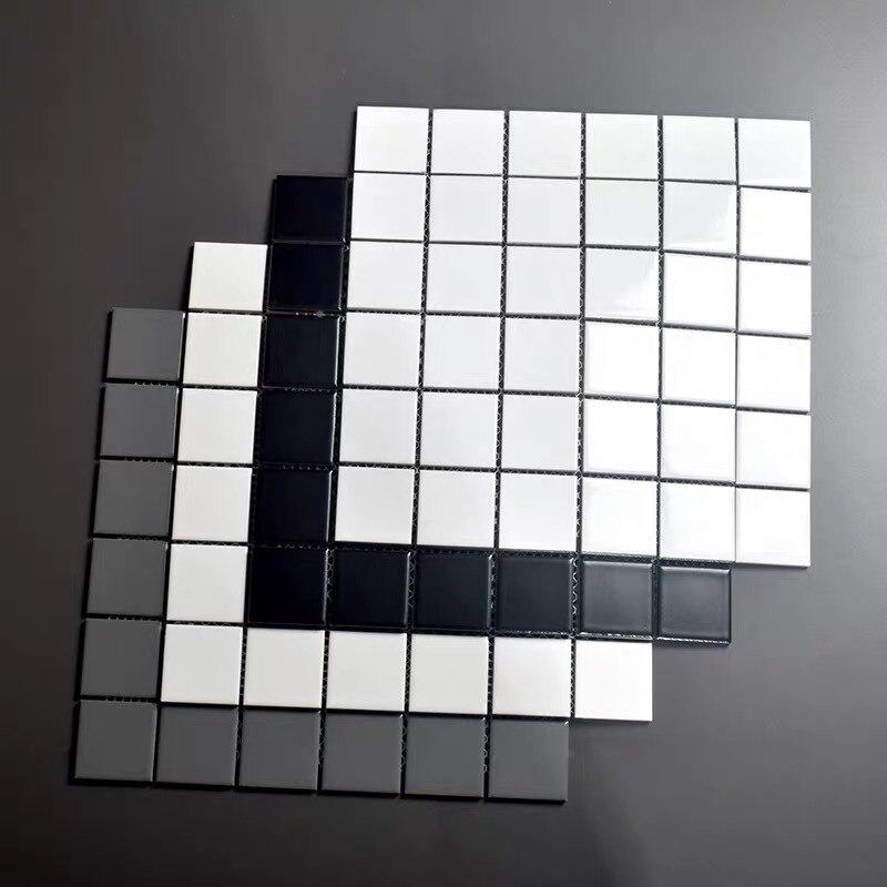 Северная Европейская плитка полностью керамическая мозаика простой черный и белый Туалет Щетка для стекла балкон настенная плитка кухня Mac
