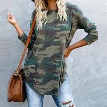 Camouflage Print Women Long Sleeve Slim