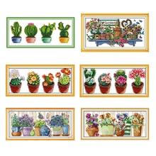 Green Plant Beautiful Cactus Cross Stitch Set Crafts Embroidery Chinese Cross Stitch Kit DMC Needlework Home Decoration Pattern