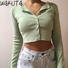 WAKUTA-cárdigan fino de punto para Mujer, Ropa de punto Coreana de cuello redondo, de moda, manga corta, protección solar, 6B082