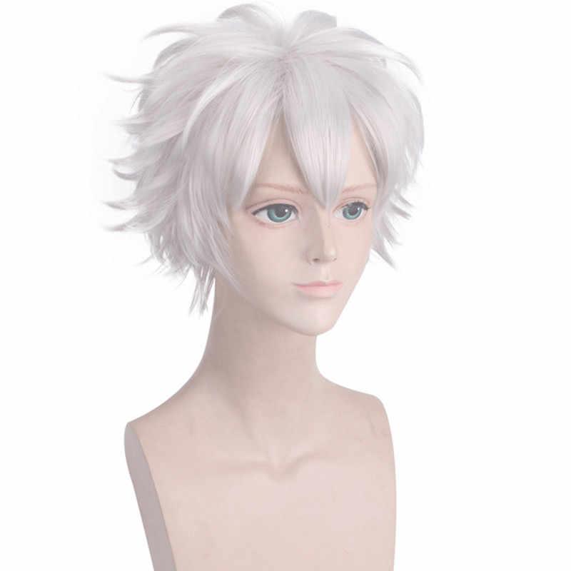VICWIG, peluca para cosplay blanca de 10 pulgadas, corta, rizado natural, plateada, con flequillo, pelo sintético, Cos Demon Slayer Shinazugawa Sanemi
