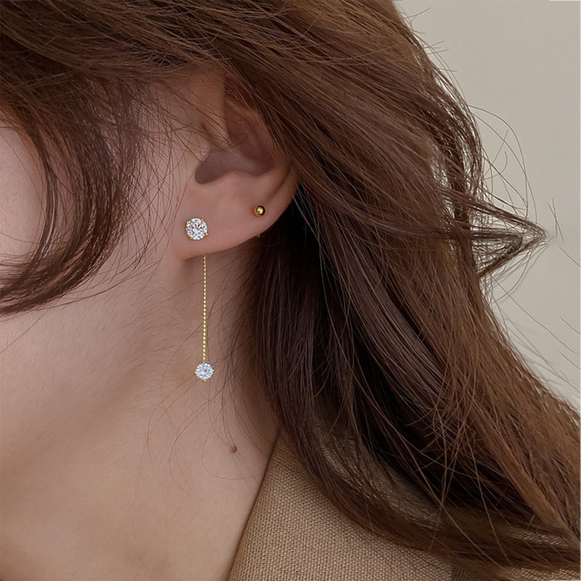 Simple Zircon Long Earrings Front And Back Delicate Korean Brincos 2021 Femme Jewelry Wholesale 4