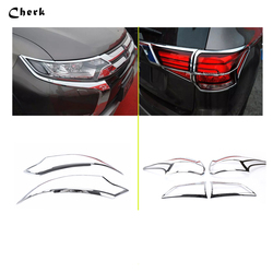 For Mitsubishi Outlander 2016 Front Lamp Cover Headlight Cover +Black Tail Light Rear Lights Decorate Cover Trim ABS Chrome