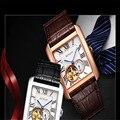 BINLUN мужские часы Механические прямоугольные стальные наручные часы с кожаным ремешком водонепроницаемые деловые часы с полым циферблатом