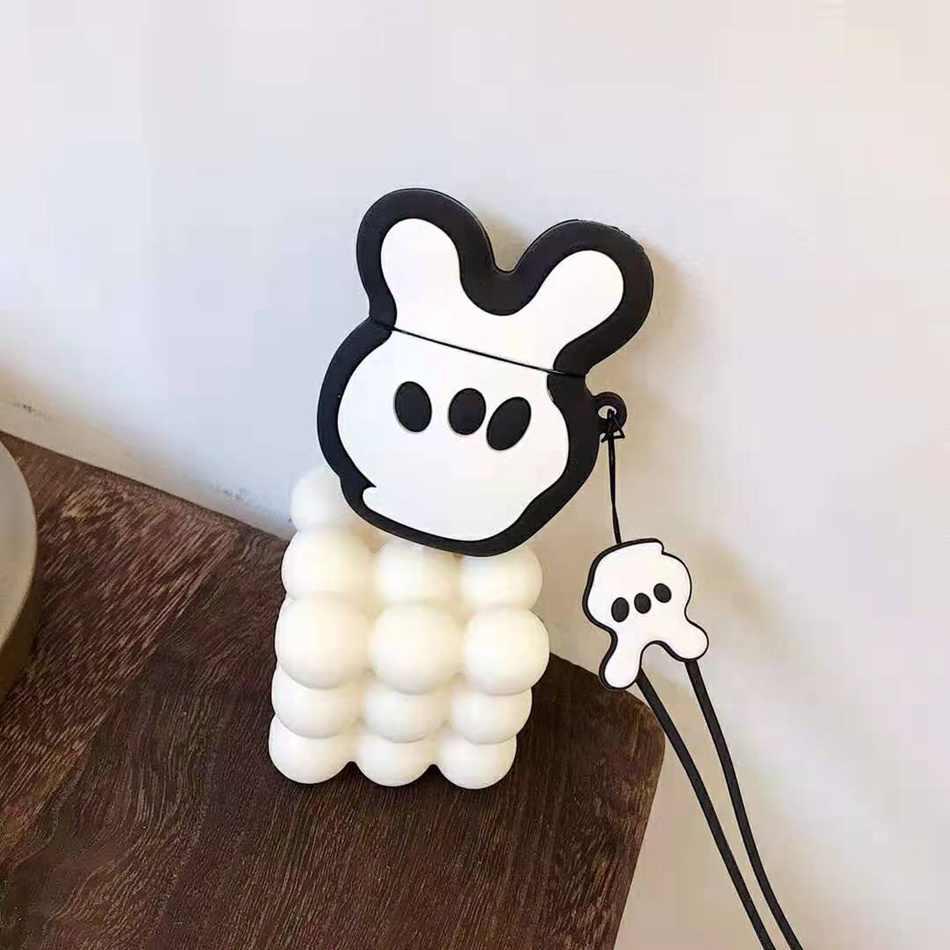 Para AirPods funda 3D Cute Cartoon Mickey esposas Minnie Bow funda para Airpods 2/i10/i11 TWS funda protectora con cordón
