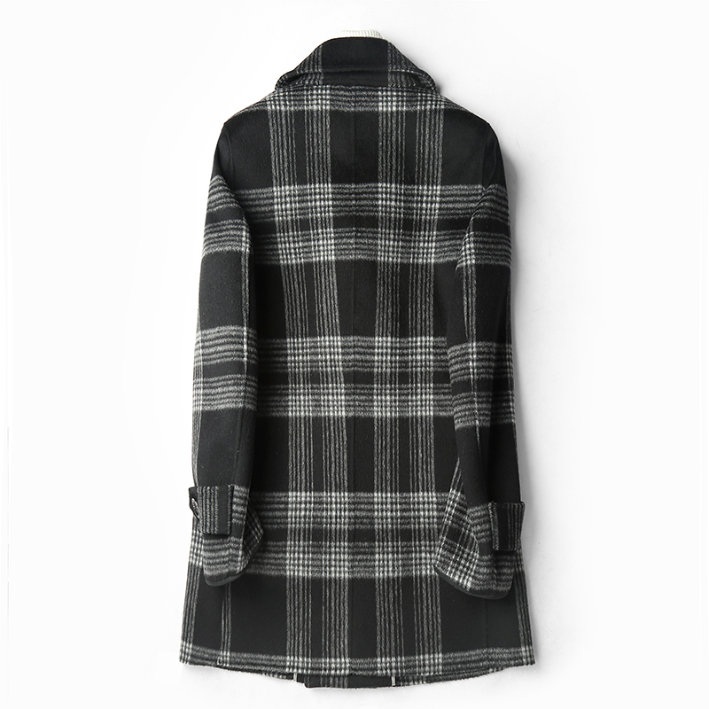 Double Faced Wool Coat Men Autumn Winter Warm Jacket Top Quality Wool Plaid Overcoats Abrigo Hombre D-04-1959 MF637