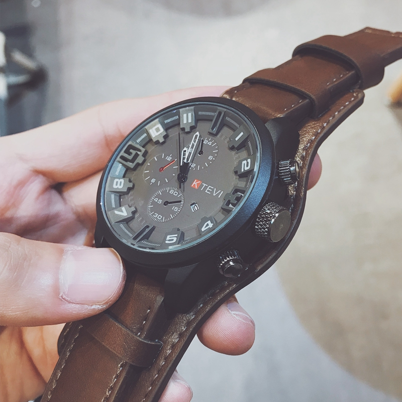 Men Military Watch Fashion Big Dial Calendar Scrub Belt Army Watch High Quality Quartz Men Sports Watch Casual Wristwatches