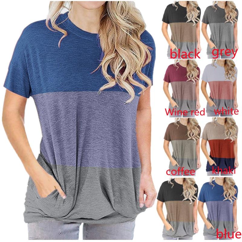 2021 nowe wiosenne i letnie europejskie i amerykańskie damskie dopasowane kolory wokół szyi luźny nietoperz z krótkim rękawem T-shirt kieszonkowy