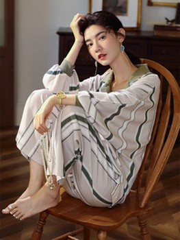 New spring and autumn pajamas women's long sleeve Korean pure cotton women's home clothes stripe can be worn outside thin suit