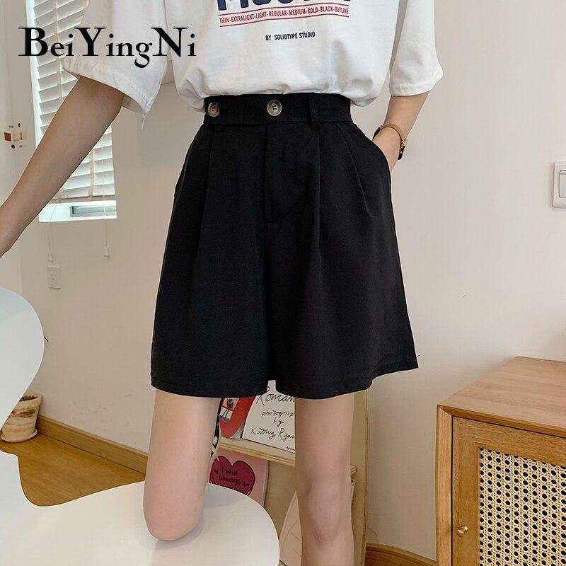 Beiyingni 2020 Summer Women's Shorts Casual Loose Buttons Korean Vintage High Waist Short Pants Female Pockets Spodenki Damskie