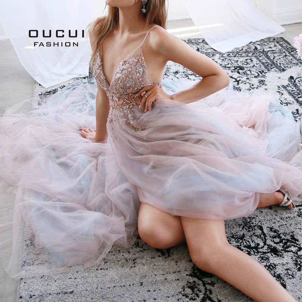 Oucui A-Line Tulle Pearl Sexy Women Long Evening Dresses Sleeveless Luxury Formal Gowns Backless Party Robe De Soiree OL103548