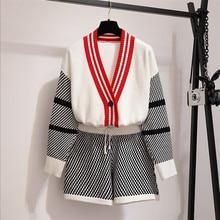 Женский трикотажный наряд, новый модный осенний комплект из 2 предметов, вязаный свитер, кардиганы, шорты, комплекты, вязаная куртка, пальто, эластичный