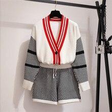 Conjunto de punto de mujer nueva moda Otoño 2 piezas conjunto tejido suéter cardigans pantalones cortos conjuntos Chaqueta de punto abrigo elástico