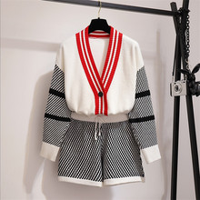 women knitted outfit new fashion autumn 2 piece set knitting sweater cardigans shorts sets knit jacket coat elastic