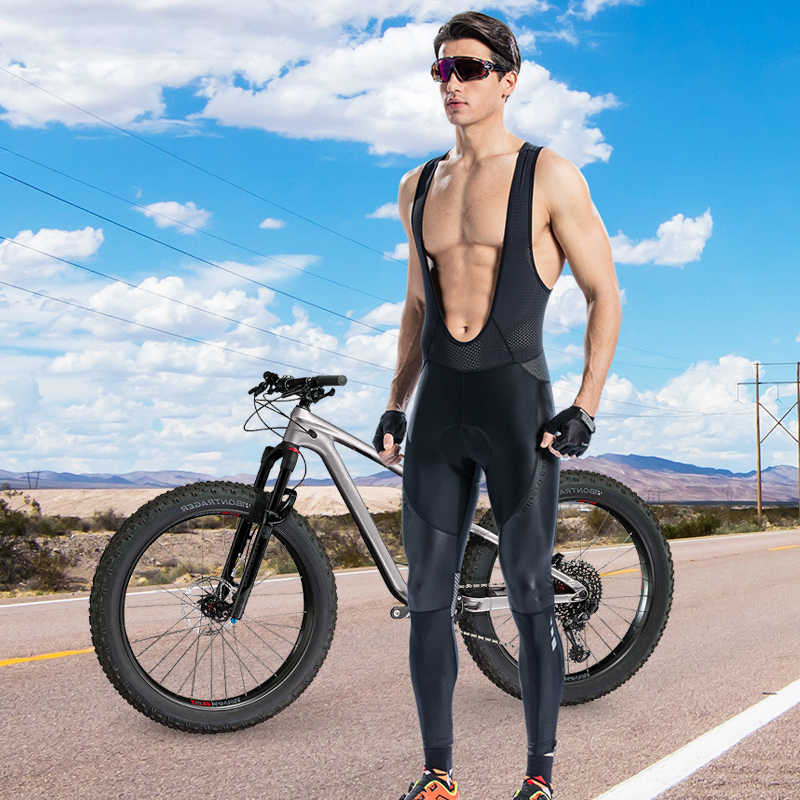 Santic Salopette Ciclismo Uomo Lunga Ciclismo Pantaloni Imbottiti