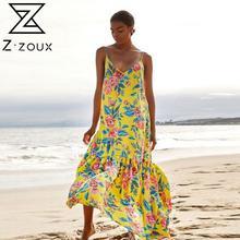 Z-ZOUX Women Dress Deep V Neck Printed Bohemia Dres