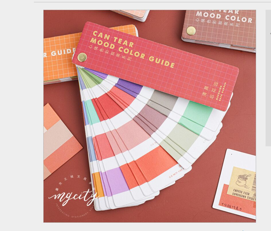 40sheets/pack Can Tear Mood Color Guide Pantone Swatch Card Index Sticker Deco Planner Diary DIY Scrapbooking Material Stickers