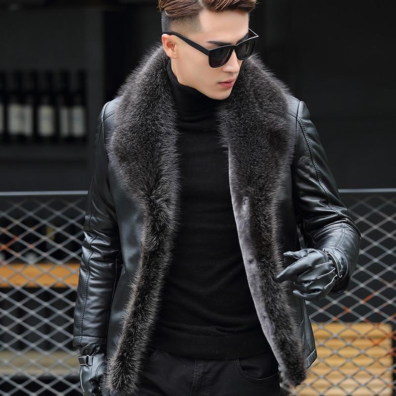 Мужская меховая овечья шерстяная интегрированная овечья шерстяная куртка Haining из меха енота модная мужская кожаная куртка|Куртки| | АлиЭкспресс