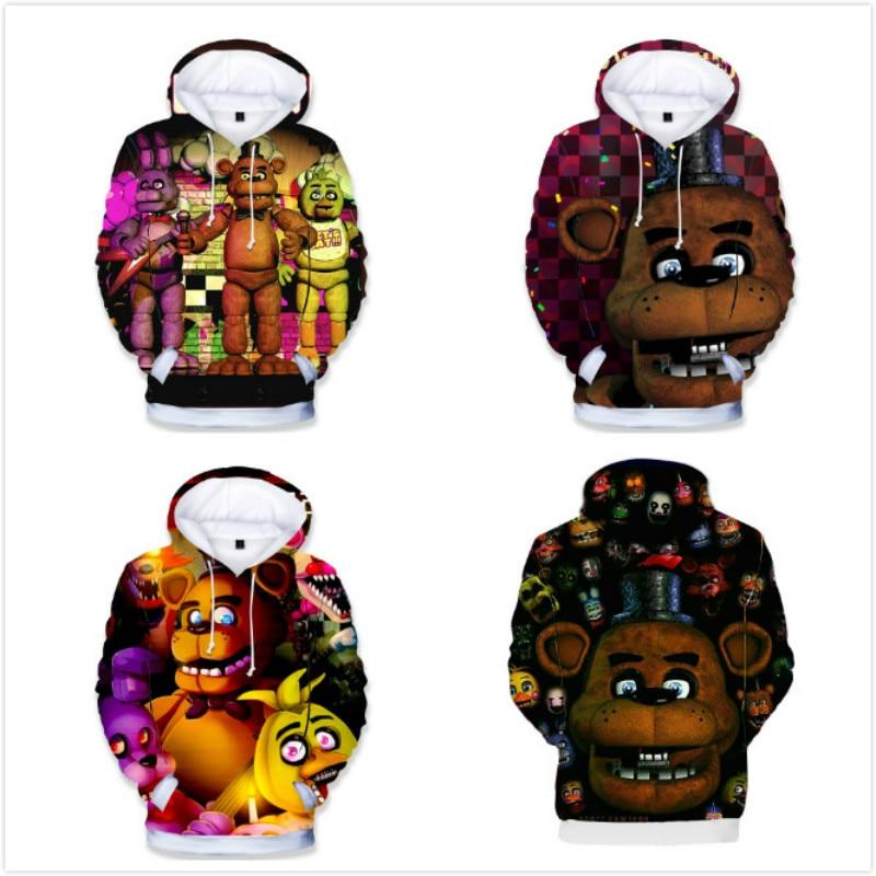 Толстовка с капюшоном для мальчиков и девочек с 3D рисунком из мультфильма «пять ночей с Фредди» Детская одежда детские костюмы, футболки с короткими рукавами Тройники      АлиЭкспресс