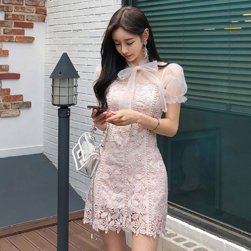 Korean Style Women Pencil Lace Dress 2019 Summer Pink Short Sleeve Patchwork Mesh Bow Bodycon Floral Sexy Mini Dress