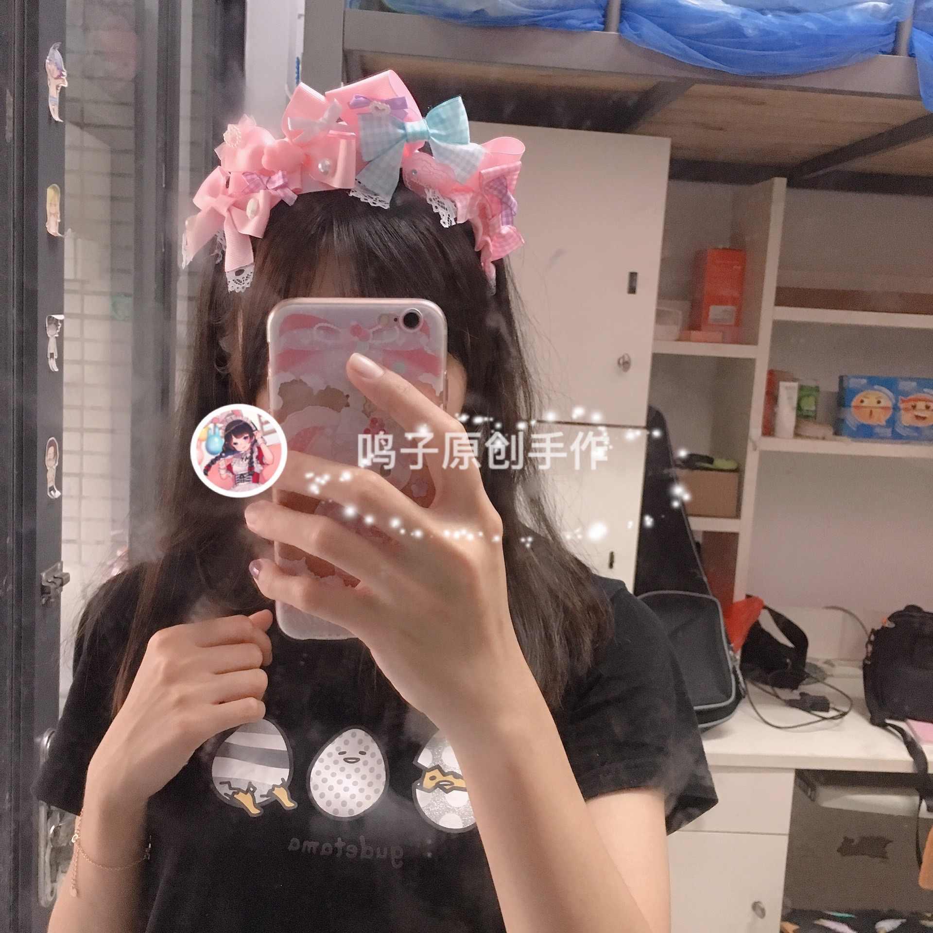 로리타 달콤한 어머니 손으로 만든 KC 라이트 핑크 색소폰 빛 Atropurpureus 달콤한 달콤한 작은 활 Hairband