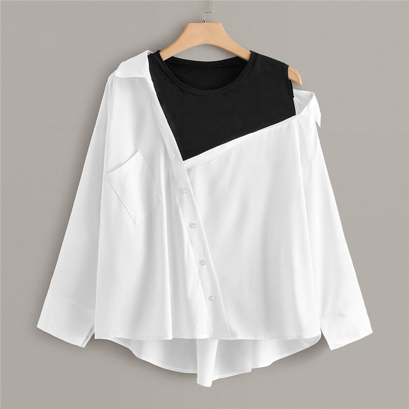 Plus Size White Contrast Panel Asymmetrical Neck Blouse