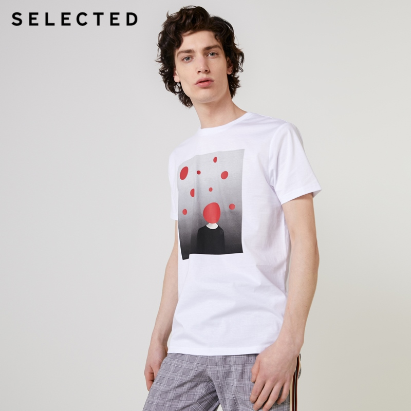 SELECTED Men's 100% Cotton Printed Short-sleeved T-shirt S|419201648