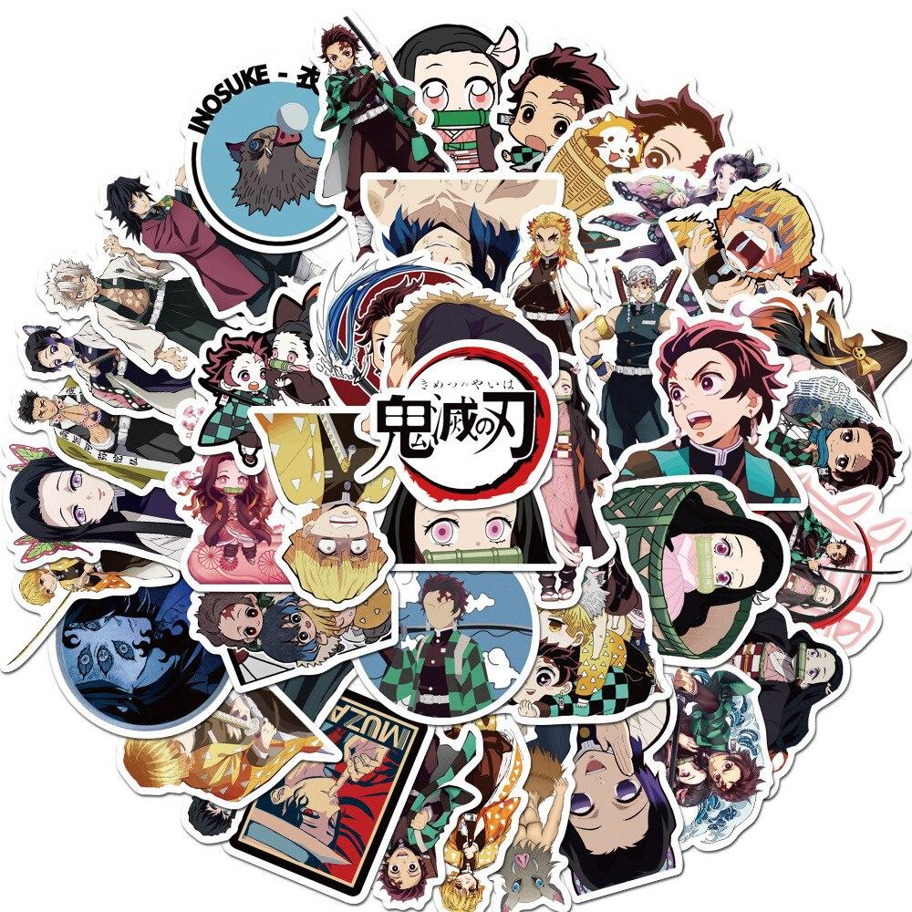 50 Sheets Japan Anime Sticker Kimetsu No Yaiba Graffiti Sticker Trunk Notebook Computer Guitar Waterproof