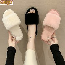 European American style 2021 fashion autumn and winter indoor home couple cotton ladies slippers plush women's shoes women slip