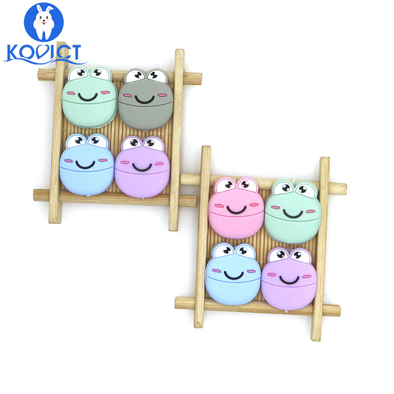 Kovict 5pcs Frog Silicone Beads Baby Silicone Teethers Food Grade Pacifier Pendant Baby Products Silicone Rodents BPA Free