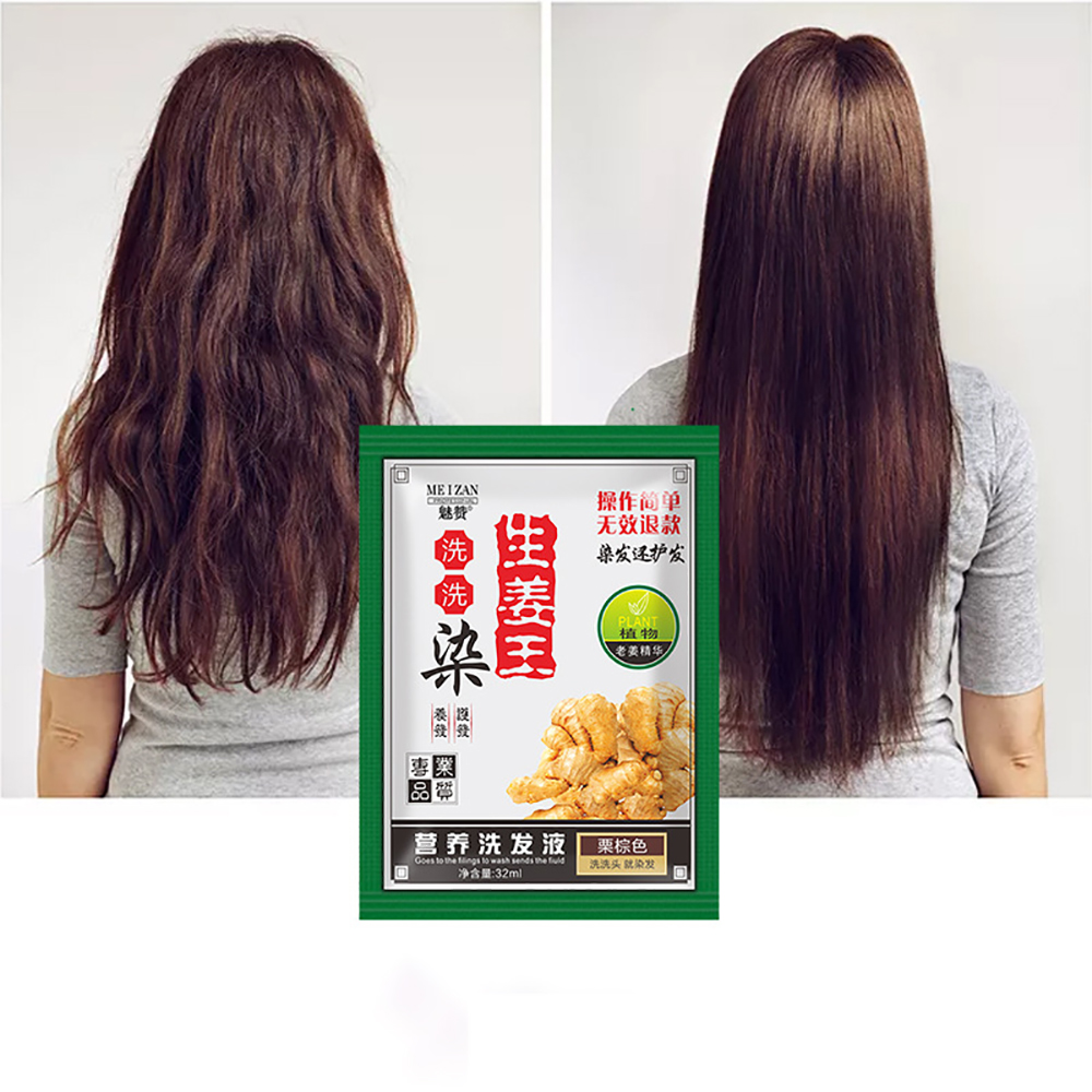 1 Pc 32ml Ginger Extracts Hair Shampoo Hair Color Natural Instant Hair Dye Only 5 Minutes Hair Styling Tools Supplies