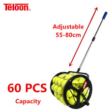 Teloon Professional Portable Tennis Roller Pick-up Tool 60 PCS Balls Capacity 55-80cm Adjustable Handle K036SPC
