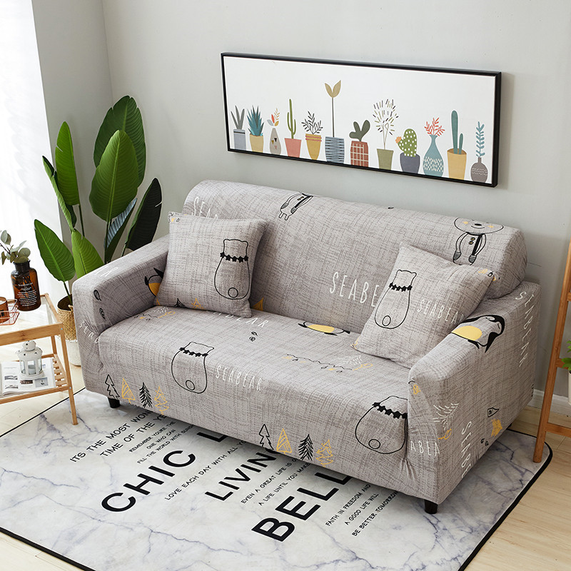 Stretchable Sofa Cover with Elastic for Sectional Couch Protects Sofa from Stains Damage and Dust 22