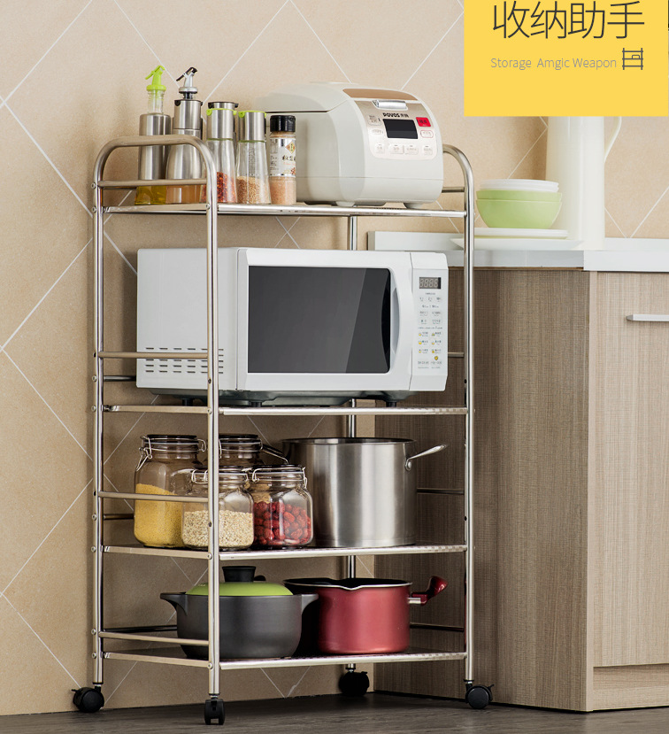 Kitchen rack stainless steel floor to floor multi layer microwave rack rack oven home saving space