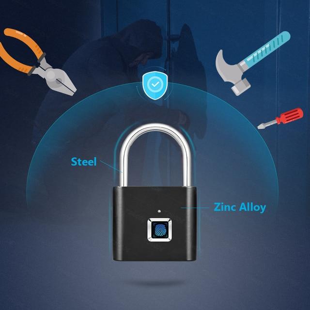 Towode Keyless USB Rechargeable Door Lock Fingerprint Smart Padlock Quick Unlock Zinc alloy Metal Self Developing Chip 1