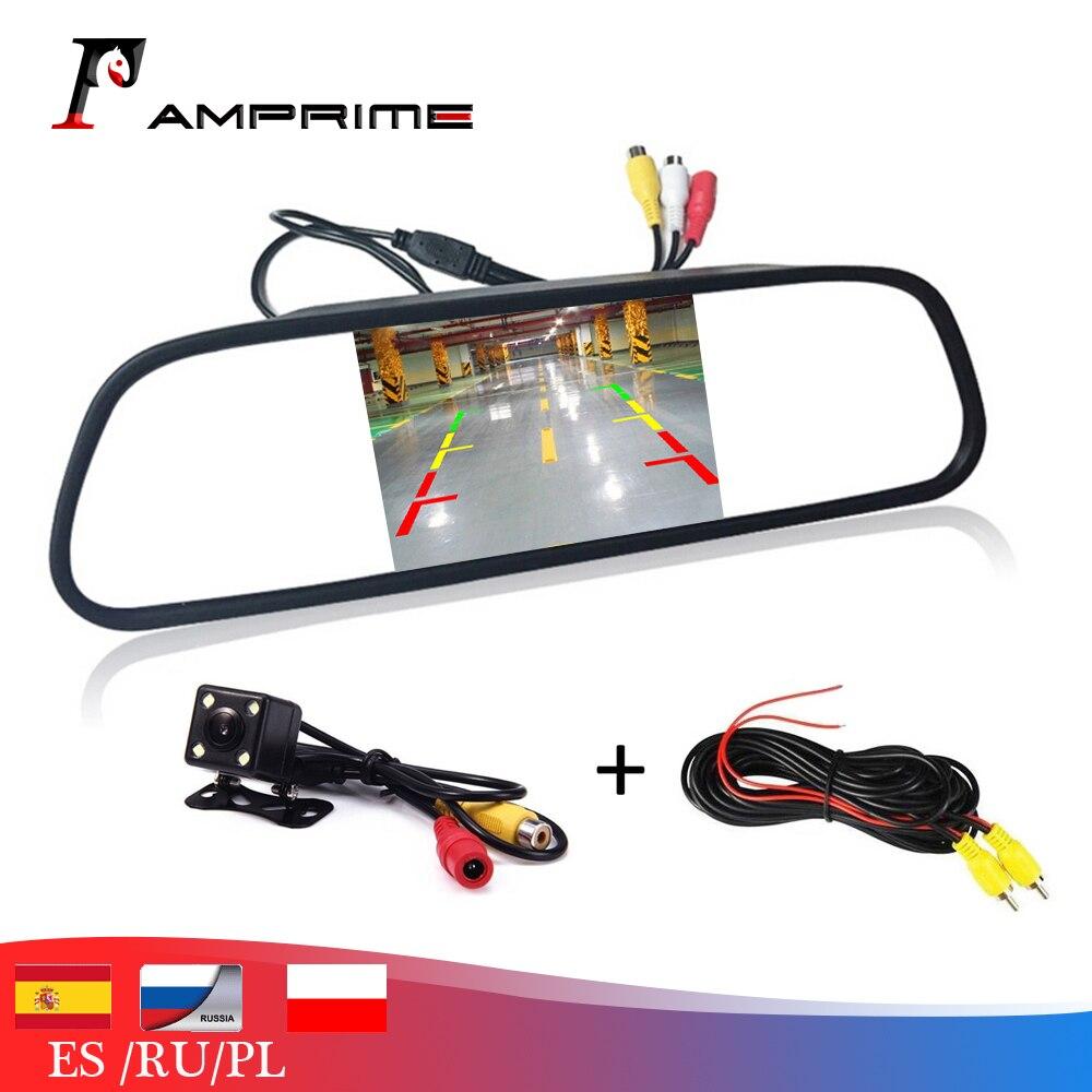 AMPrime 4,3 zoll Auto HD Rückspiegel Monitor CCD Video Auto Einparkhilfe LED Nachtsicht Rückfahr Rückansicht Kamera