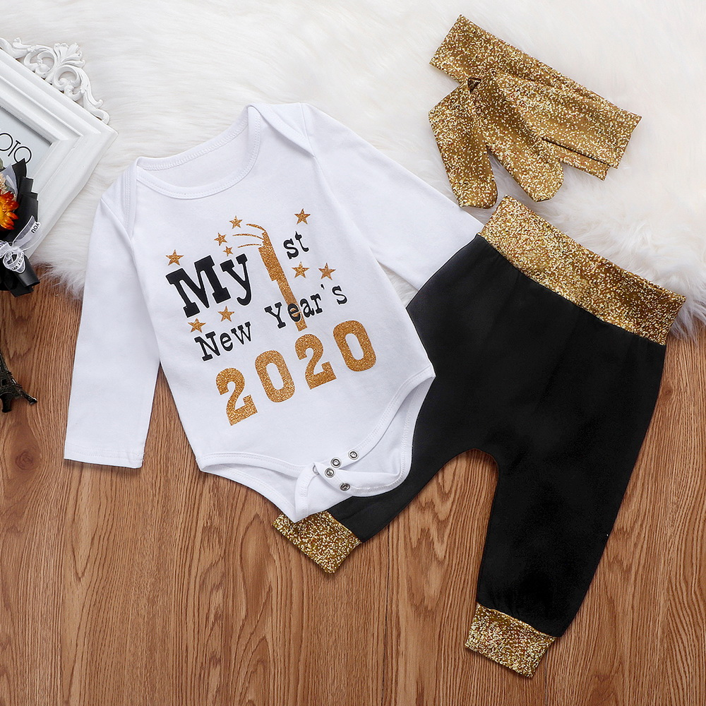 2020 My 1st New Year Gifts Newborn Baby Boy Girl Romper Top Pants Winter Clothes