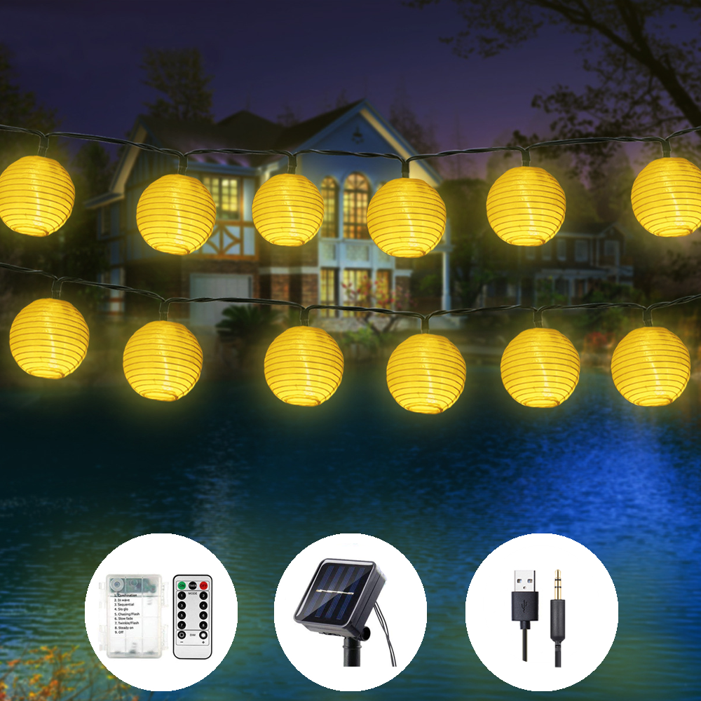 Lantern Solar Garland String Lights USB Battery Bin Fairy Lights 20/30/50LED Lighting String Garden For Outdoor,Indoor Lighting