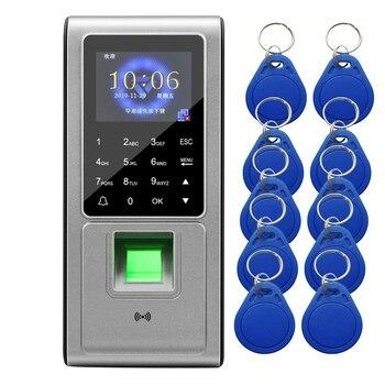 F6 RFID Fingerprint Access Control Keypad System Electronic Recorder Attendance Machine +10 Keyfobs Card