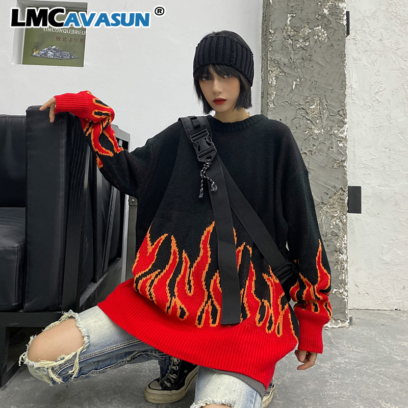 Couple Sweater Harajuku Hip Hop Flame Fire Sweaters Knit Autumn Winter Man Women Outfits Loose Pullover Fashion Tops Unisex
