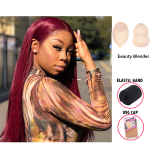 Image 4 - Burgundy 99J 13*6 Deep Part Lace Front Human Hair Wigs With Baby Hair Straight Pre Plucked Hairline Wig Brazilian Remy Wigs