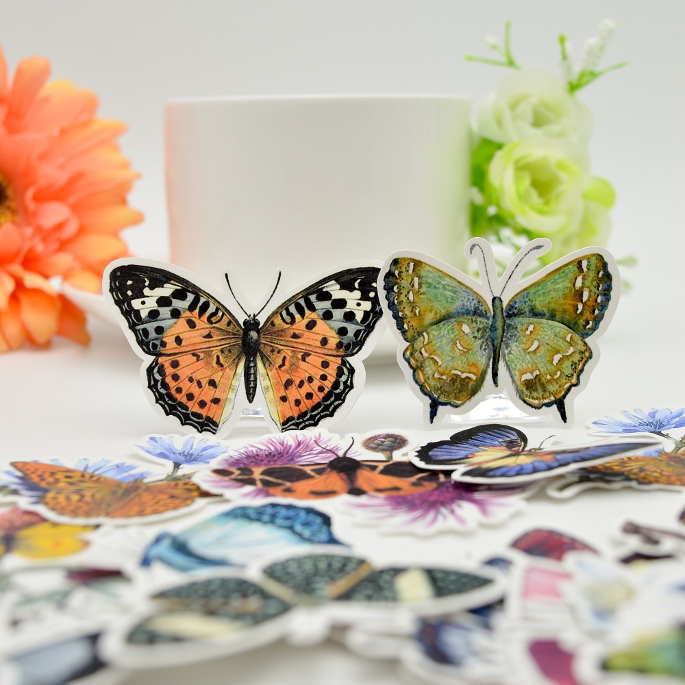 31pcs Cute Pretty Butterfly Stickers Crafts Scrapbooking /Decorative Lovely DIY Stationery Sticker Papeleria Autocollant Kawaii