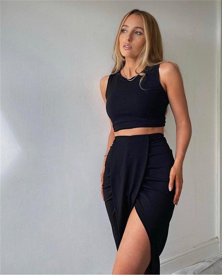 Ensemble jupe longue pour femmes, ensemble deux pièces, jupe fendue, Sexy