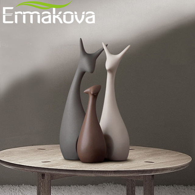 ERMAKOVA 3 Pcs Deer Family Figurines Modern Fashion Ceramic Statues Home Decoration Ornament Figures Animal Ornament 1