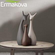 ERMAKOVA 3 adet geyik aile figürleri Modern moda seramik heykelleri ev dekorasyon süs figürleri hayvan süs