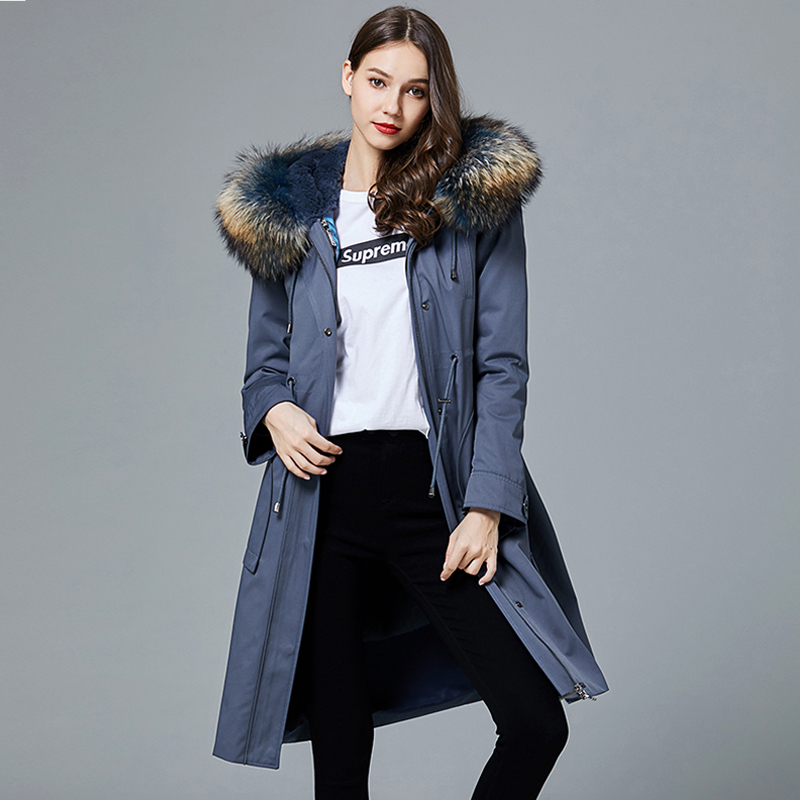 Fur Real Coat Female Rabbit Fur Liner Parka Winter Jacket Women Raccoon Fur Collar Long Jackets For Women Warm Outwear S