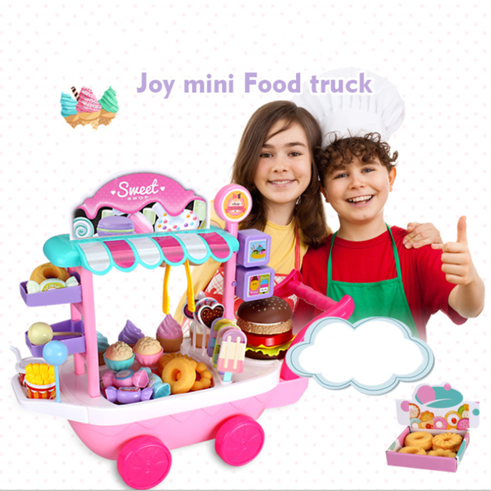36 Pcs Funny Gifts Plastic Ice Cream Mini DIY Candy Cart Toy Set Non Toxic Children Pretend Game House Play Simulation
