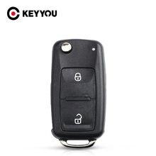 KEYYOU 10X nuevo 2 sin cortar botón plegable, abatible de llave de control remoto caso de reemplazo FOB Shell para Vw VOLKSWAGEN Transporter T5 Polo G