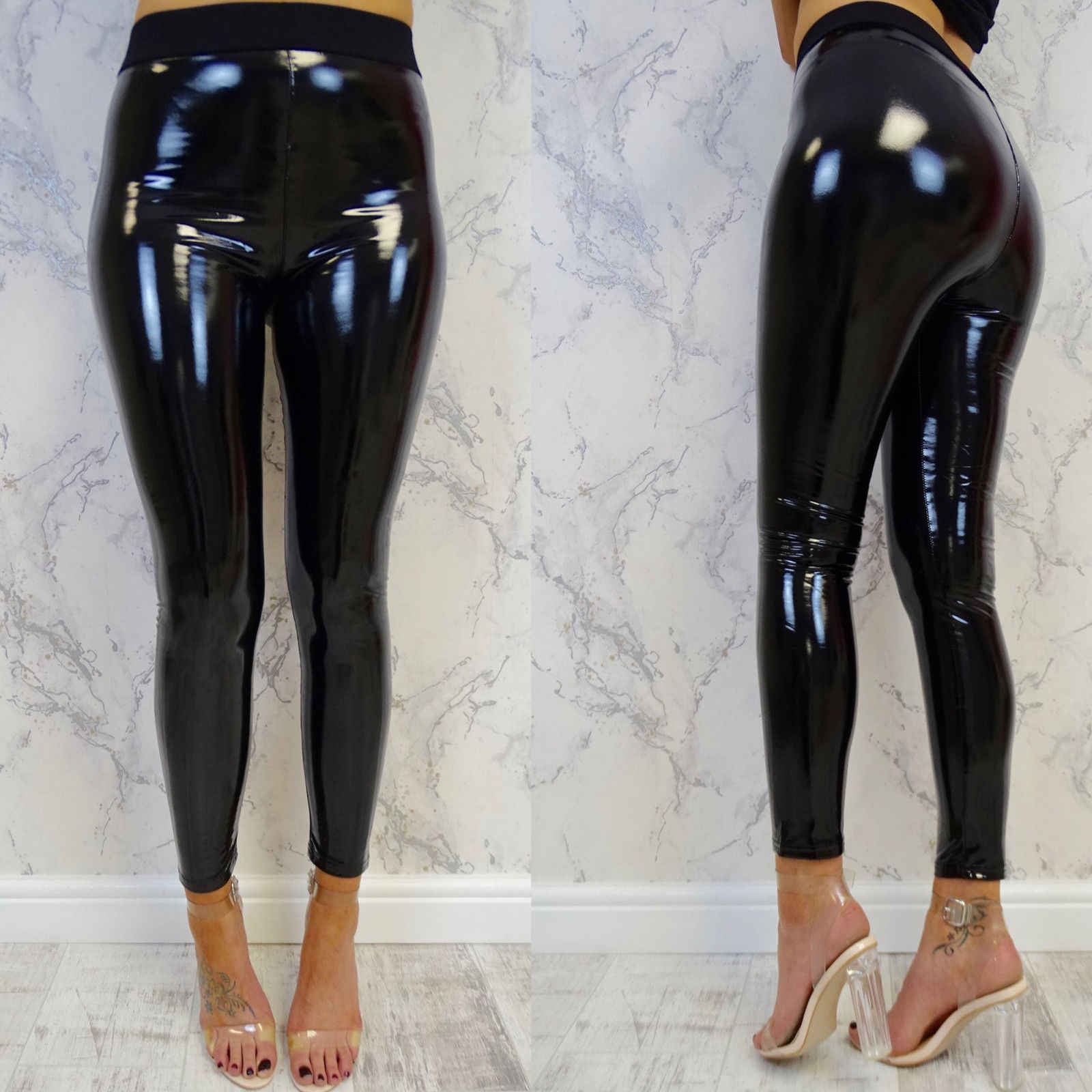Winter Gothic Strethcy Shiny Wet Look Pu Lederen Leggings Vrouwen Zwarte Slanke Push Up Lange Broek Dames Sex Skinny Leggings
