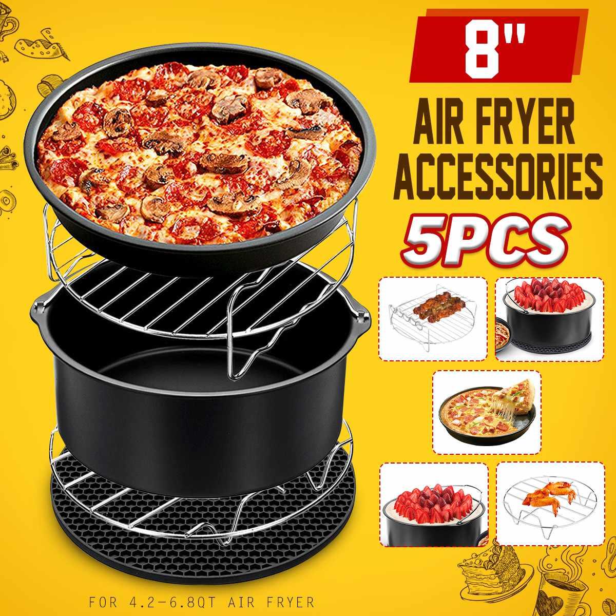 9Pcs 9IN1 8 Inch Air Fryer Accessories Set Chips Baking Air Fryer Accessories Set Chips Baking Basket Pan Rack For 4.2QT-6.8QT